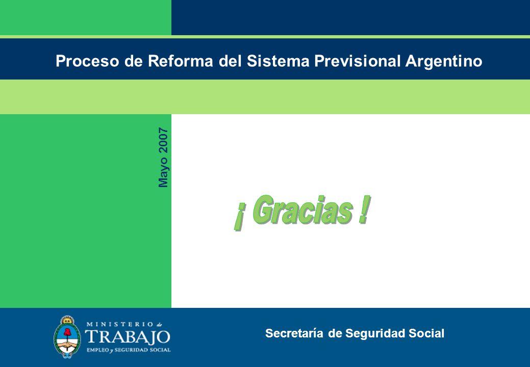 Proceso de Reforma del Sistema Previsional Argentino Mayo 2007 Secretaría de Seguridad Social