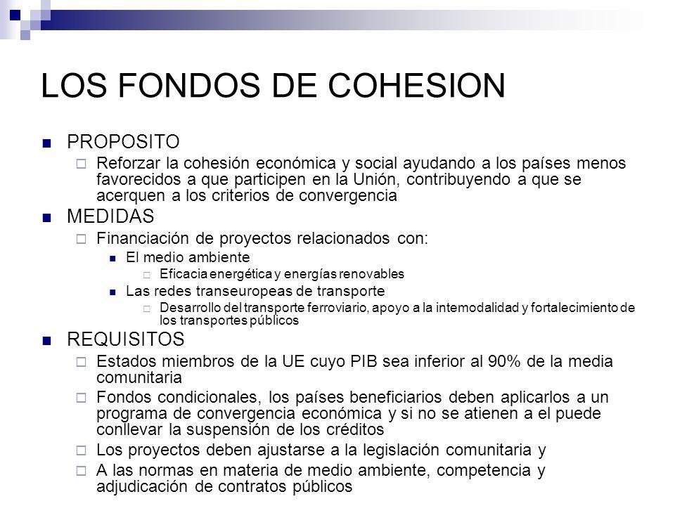 LOS FONDOS DE COHESION PROPOSITO Reforzar la cohesión económica y social ayudando a los países menos favorecidos a que participen en la Unión, contrib