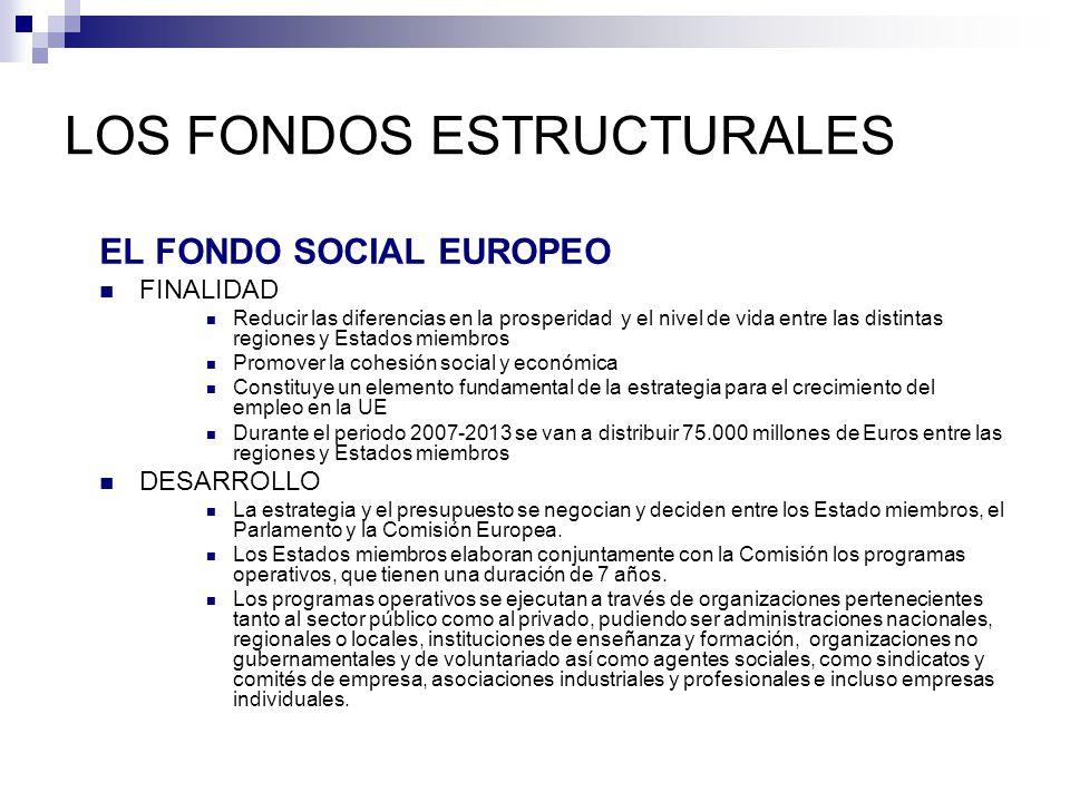LOS FONDOS ESTRUCTURALES EL FONDO SOCIAL EUROPEO FINALIDAD Reducir las diferencias en la prosperidad y el nivel de vida entre las distintas regiones y