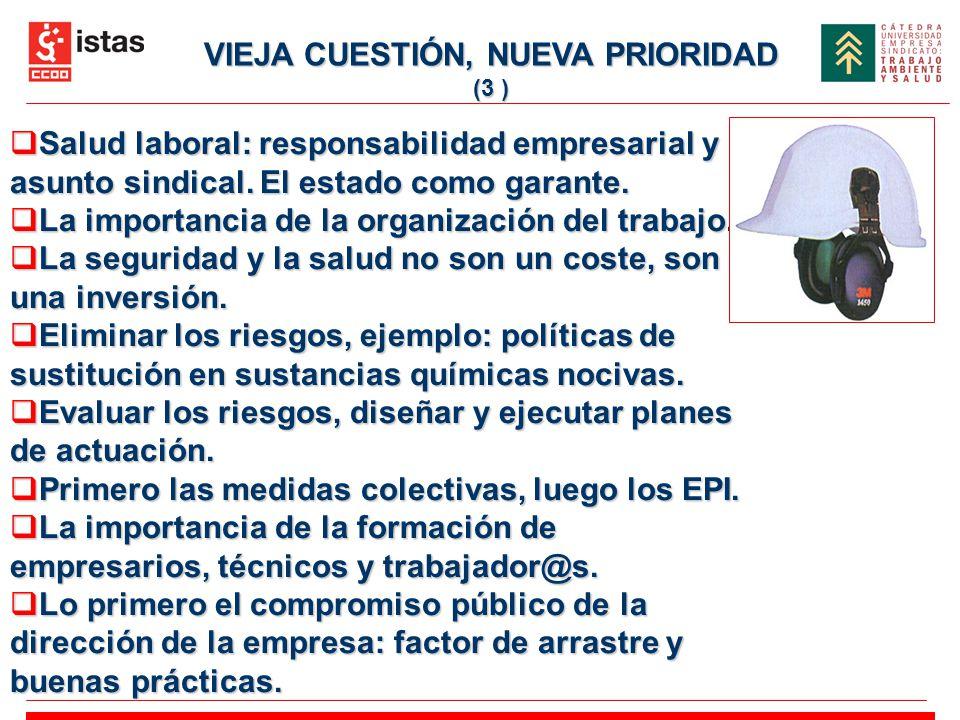 VIEJA CUESTIÓN, NUEVA PRIORIDAD (3 ) Salud laboral: responsabilidad empresarial y asunto sindical. El estado como garante. Salud laboral: responsabili