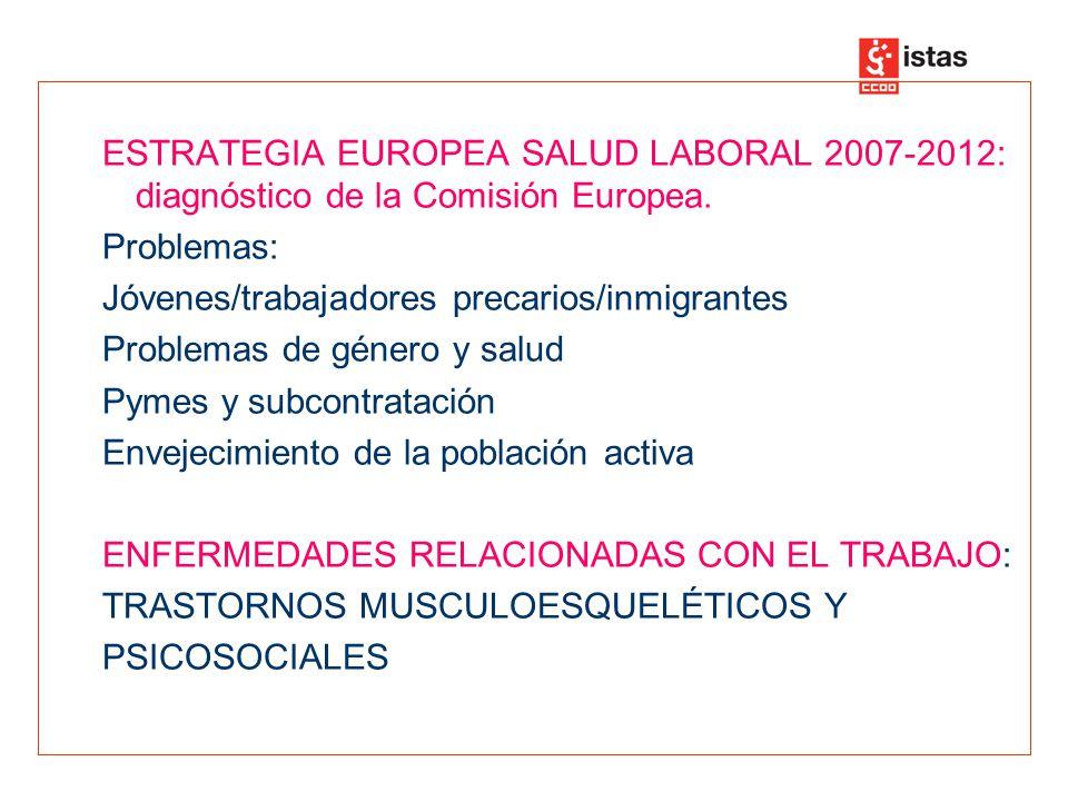 ESTRATEGIA EUROPEA SALUD LABORAL 2007-2012: diagnóstico de la Comisión Europea. Problemas: Jóvenes/trabajadores precarios/inmigrantes Problemas de gén