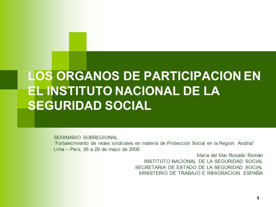 1 LOS ORGANOS DE PARTICIPACION EN EL INSTITUTO NACIONAL DE LA SEGURIDAD SOCIAL SEMINARIO SUBREGIONAL Fortalecimiento de redes sindicales en materia de