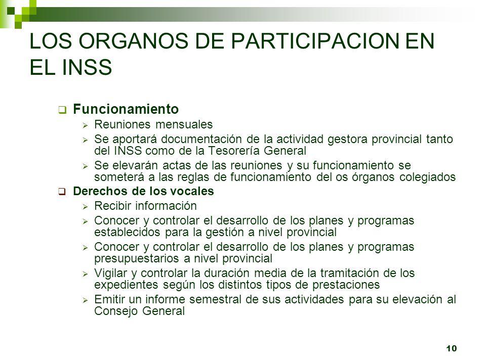 10 LOS ORGANOS DE PARTICIPACION EN EL INSS Funcionamiento Reuniones mensuales Se aportará documentación de la actividad gestora provincial tanto del I