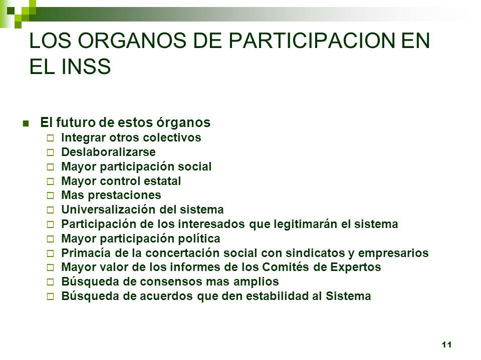 11 LOS ORGANOS DE PARTICIPACION EN EL INSS El futuro de estos órganos Integrar otros colectivos Deslaboralizarse Mayor participación social Mayor cont