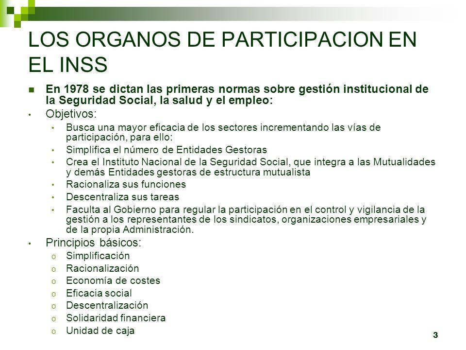 3 LOS ORGANOS DE PARTICIPACION EN EL INSS En 1978 se dictan las primeras normas sobre gestión institucional de la Seguridad Social, la salud y el empl