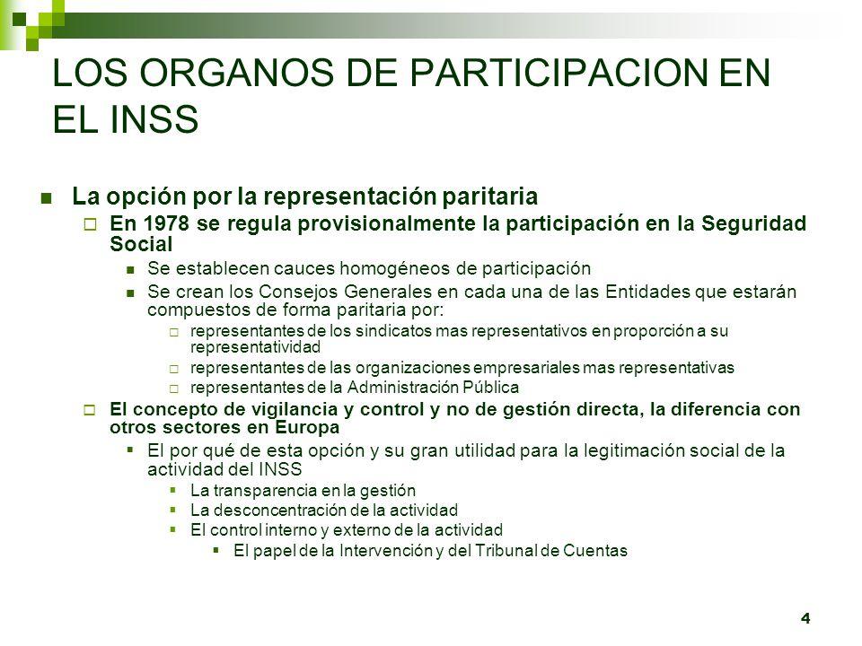 4 LOS ORGANOS DE PARTICIPACION EN EL INSS La opción por la representación paritaria En 1978 se regula provisionalmente la participación en la Segurida