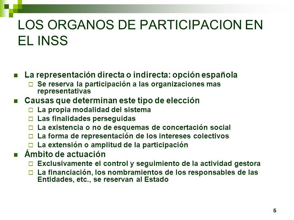 5 LOS ORGANOS DE PARTICIPACION EN EL INSS La representación directa o indirecta: opción española Se reserva la participación a las organizaciones mas