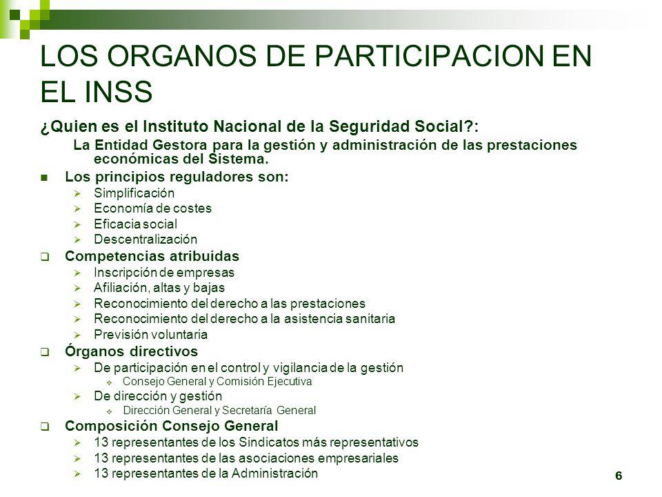 6 LOS ORGANOS DE PARTICIPACION EN EL INSS ¿Quien es el Instituto Nacional de la Seguridad Social?: La Entidad Gestora para la gestión y administración