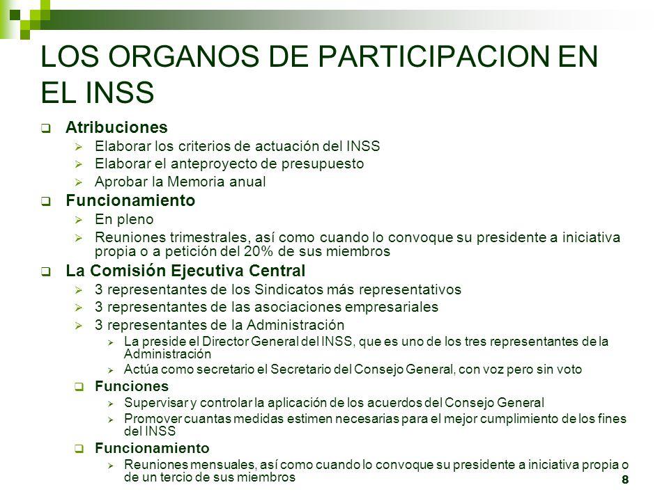 9 LOS ORGANOS DE PARTICIPACION EN EL INSS Las Comisiones Ejecutivas Provinciales Se crea una en cada Dirección Provincial.