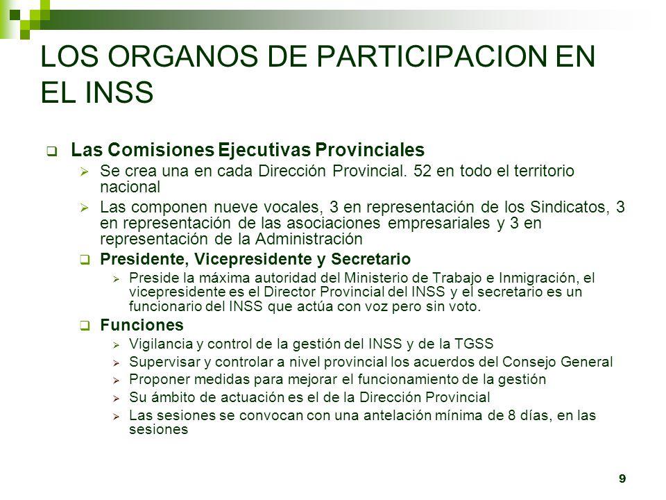9 LOS ORGANOS DE PARTICIPACION EN EL INSS Las Comisiones Ejecutivas Provinciales Se crea una en cada Dirección Provincial. 52 en todo el territorio na
