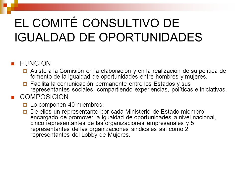 EL COMITÉ CONSULTIVO DE IGUALDAD DE OPORTUNIDADES FUNCION Asiste a la Comisión en la elaboración y en la realización de su política de fomento de la i