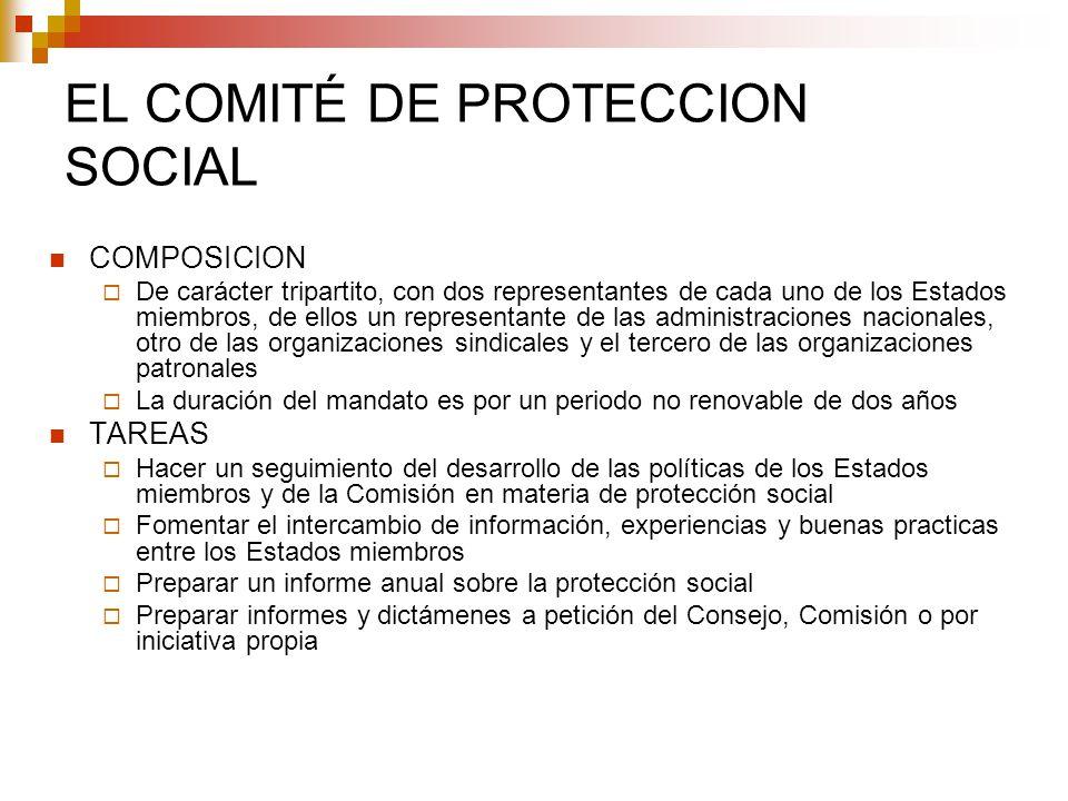 EL COMITÉ DE PROTECCION SOCIAL COMPOSICION De carácter tripartito, con dos representantes de cada uno de los Estados miembros, de ellos un representan