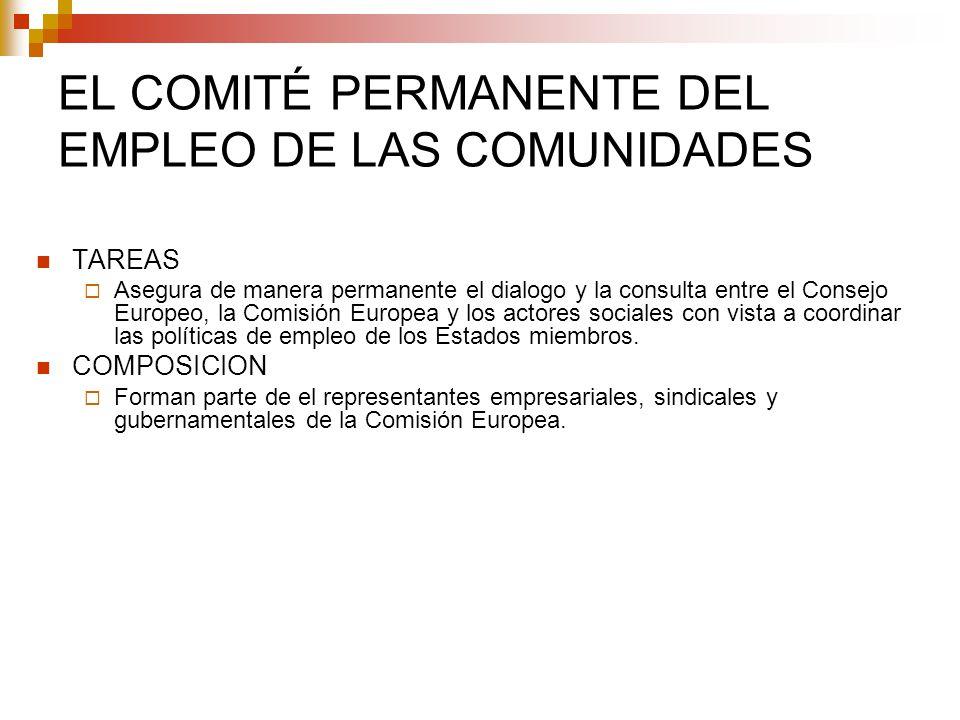 EL COMITÉ PERMANENTE DEL EMPLEO DE LAS COMUNIDADES TAREAS Asegura de manera permanente el dialogo y la consulta entre el Consejo Europeo, la Comisión