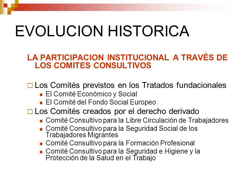 EVOLUCION HISTORICA LA PARTICIPACION INSTITUCIONAL A TRAVÉS DE LOS COMITES CONSULTIVOS Los Comités previstos en los Tratados fundacionales El Comité E