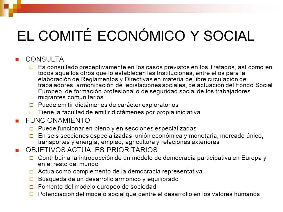 EL COMITÉ ECONÓMICO Y SOCIAL CONSULTA Es consultado preceptivamente en los casos previstos en los Tratados, así como en todos aquellos otros que lo es