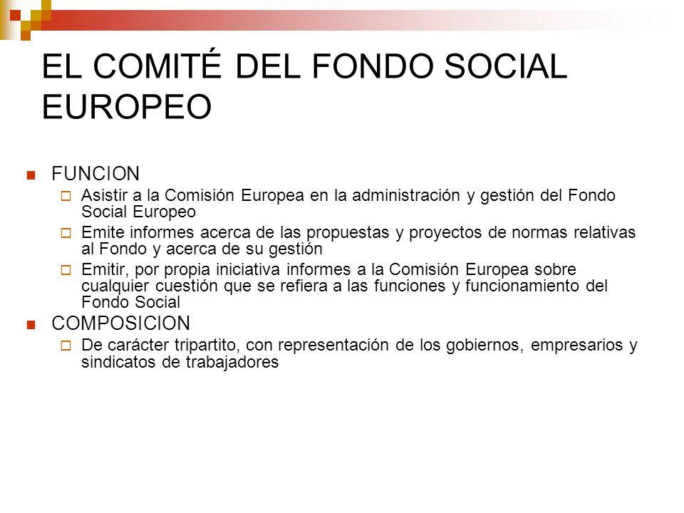 EL COMITÉ DEL FONDO SOCIAL EUROPEO FUNCION Asistir a la Comisión Europea en la administración y gestión del Fondo Social Europeo Emite informes acerca