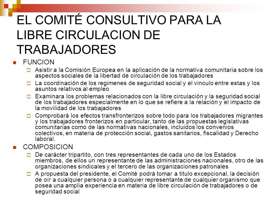 EL COMITÉ CONSULTIVO PARA LA LIBRE CIRCULACION DE TRABAJADORES FUNCION Asistir a la Comisión Europea en la aplicación de la normativa comunitaria sobr