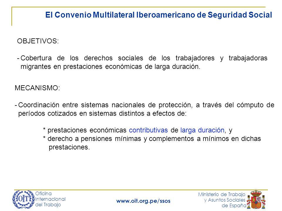 Oficina Internacional del Trabajo Ministerio de Trabajo y Asuntos Sociales de España www.oit.org.pe/ssos El Convenio Multilateral Iberoamericano de Seguridad Social OBJETIVOS: -Cobertura de los derechos sociales de los trabajadores y trabajadoras migrantes en prestaciones económicas de larga duración.