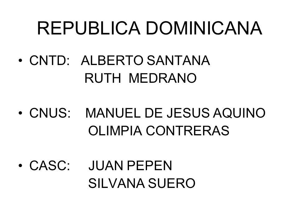 REPUBLICA DOMINICANA CNTD: ALBERTO SANTANA RUTH MEDRANO CNUS: MANUEL DE JESUS AQUINO OLIMPIA CONTRERAS CASC: JUAN PEPEN SILVANA SUERO