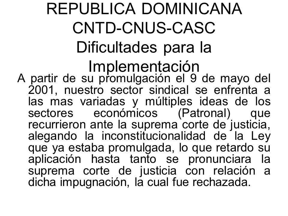 REPUBLICA DOMINICANA CNTD-CNUS-CASC Dificultades para la Implementación A partir de su promulgación el 9 de mayo del 2001, nuestro sector sindical se