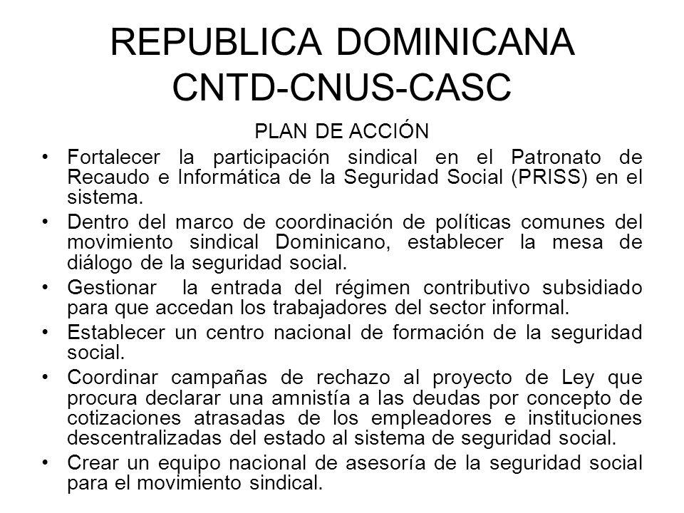 REPUBLICA DOMINICANA CNTD-CNUS-CASC PLAN DE ACCIÓN Fortalecer la participación sindical en el Patronato de Recaudo e Informática de la Seguridad Socia
