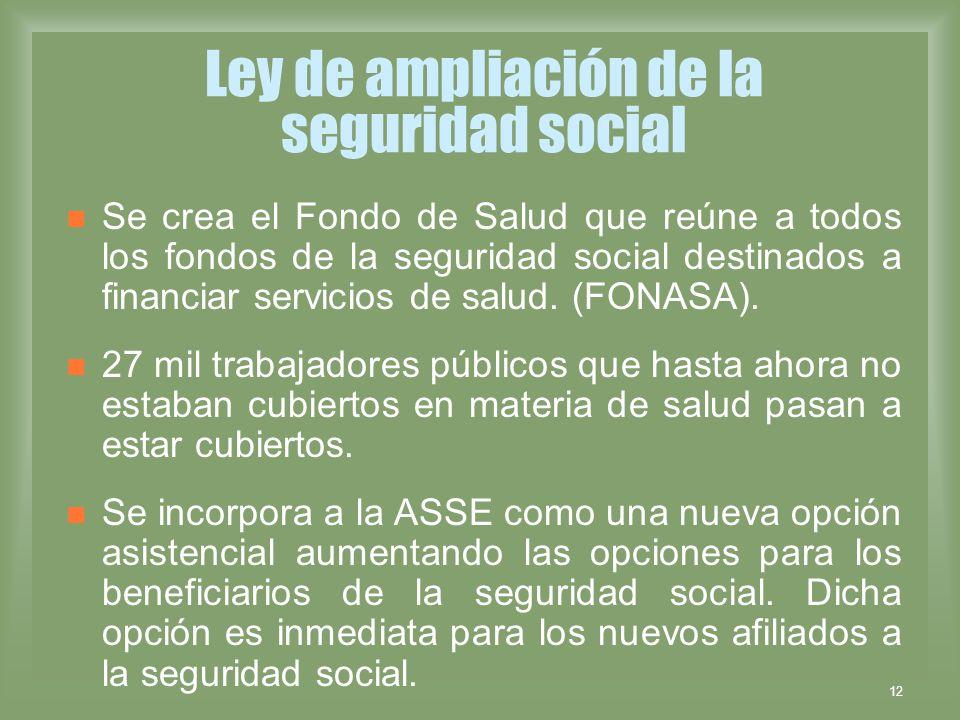 12 Ley de ampliación de la seguridad social Se crea el Fondo de Salud que reúne a todos los fondos de la seguridad social destinados a financiar servi