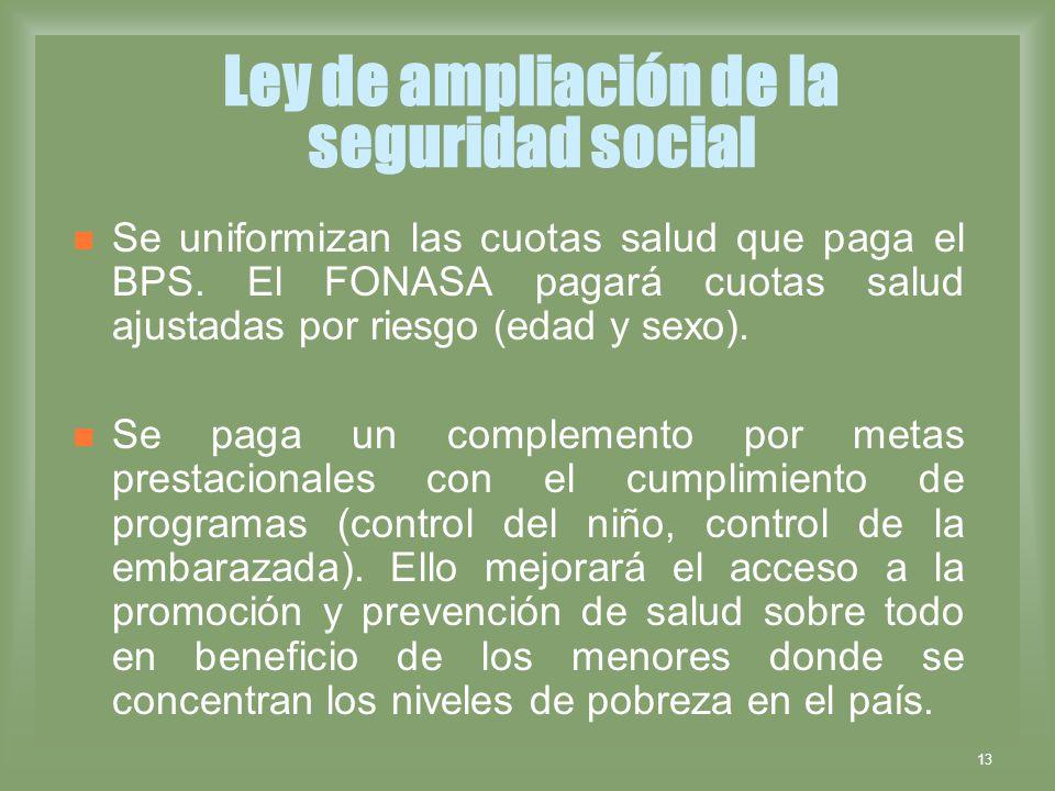 13 Ley de ampliación de la seguridad social Se uniformizan las cuotas salud que paga el BPS. El FONASA pagará cuotas salud ajustadas por riesgo (edad