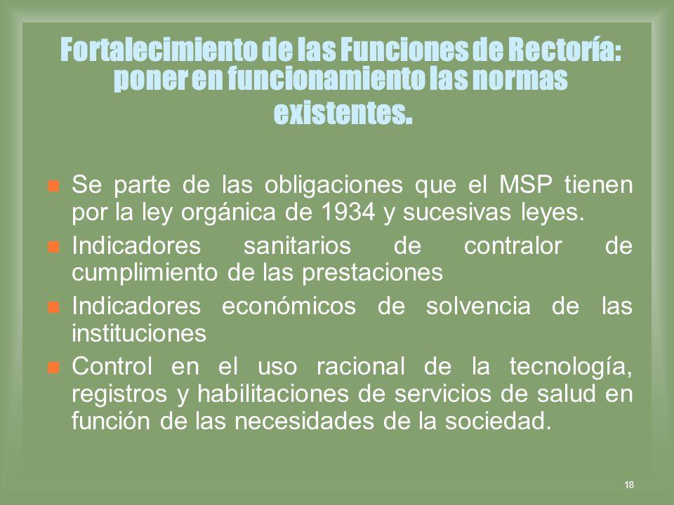 18 Fortalecimiento de las Funciones de Rectoría: poner en funcionamiento las normas existentes. Se parte de las obligaciones que el MSP tienen por la