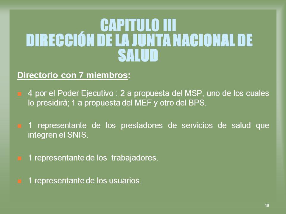 19 CAPITULO III DIRECCIÓN DE LA JUNTA NACIONAL DE SALUD Directorio con 7 miembros: 4 por el Poder Ejecutivo : 2 a propuesta del MSP, uno de los cuales
