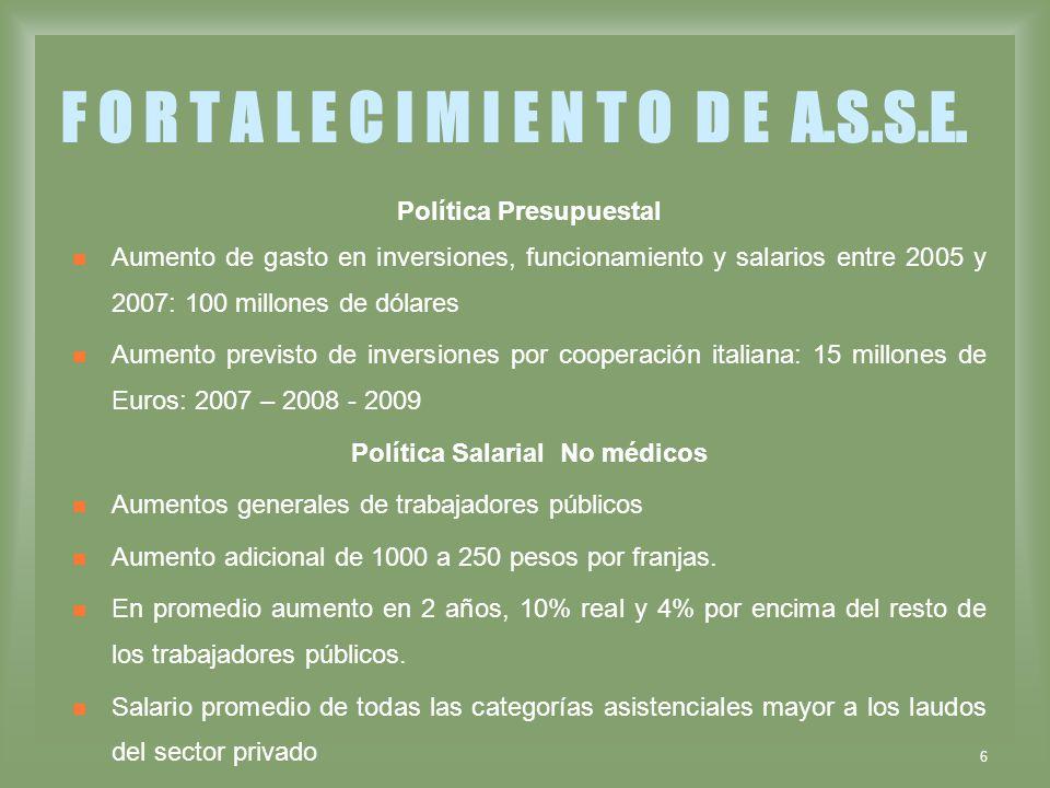 6 F O R T A L E C I M I E N T O D E A.S.S.E. Política Presupuestal Aumento de gasto en inversiones, funcionamiento y salarios entre 2005 y 2007: 100 m