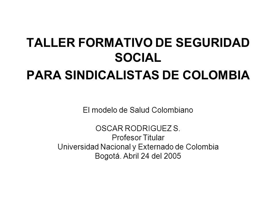 TALLER FORMATIVO DE SEGURIDAD SOCIAL PARA SINDICALISTAS DE COLOMBIA El modelo de Salud Colombiano OSCAR RODRIGUEZ S. Profesor Titular Universidad Naci