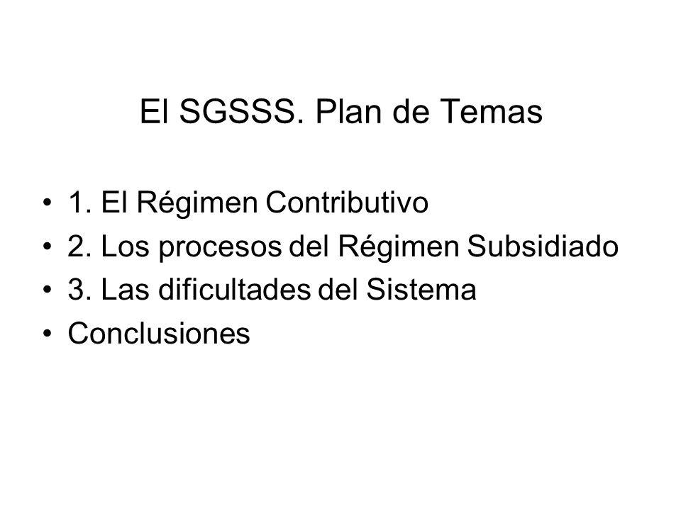 El SGSSS. Plan de Temas 1. El Régimen Contributivo 2. Los procesos del Régimen Subsidiado 3. Las dificultades del Sistema Conclusiones