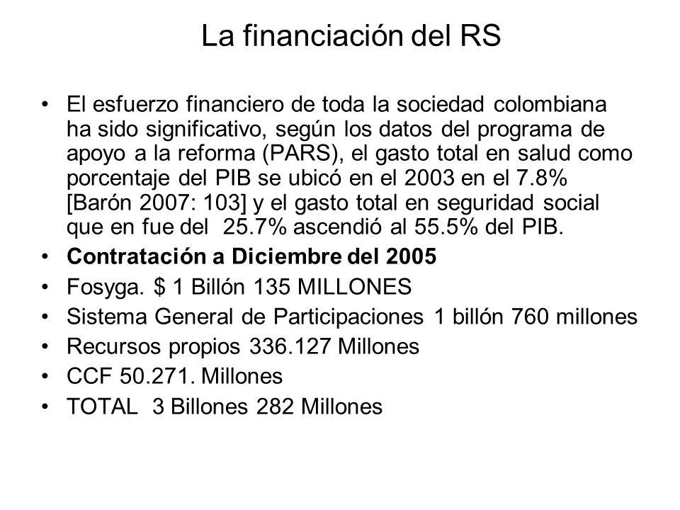 La financiación del RS El esfuerzo financiero de toda la sociedad colombiana ha sido significativo, según los datos del programa de apoyo a la reforma