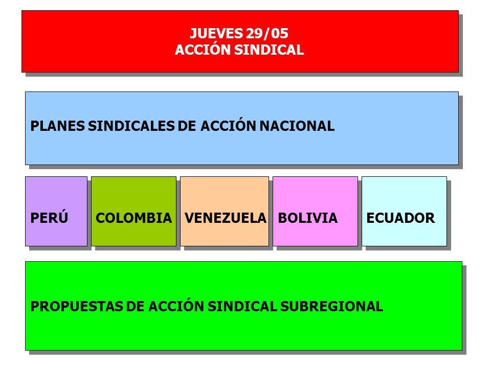 JUEVES 29/05 ACCIÓN SINDICAL JUEVES 29/05 ACCIÓN SINDICAL PERÚ PLANES SINDICALES DE ACCIÓN NACIONAL PROPUESTAS DE ACCIÓN SINDICAL SUBREGIONAL COLOMBIA VENEZUELA BOLIVIA ECUADOR