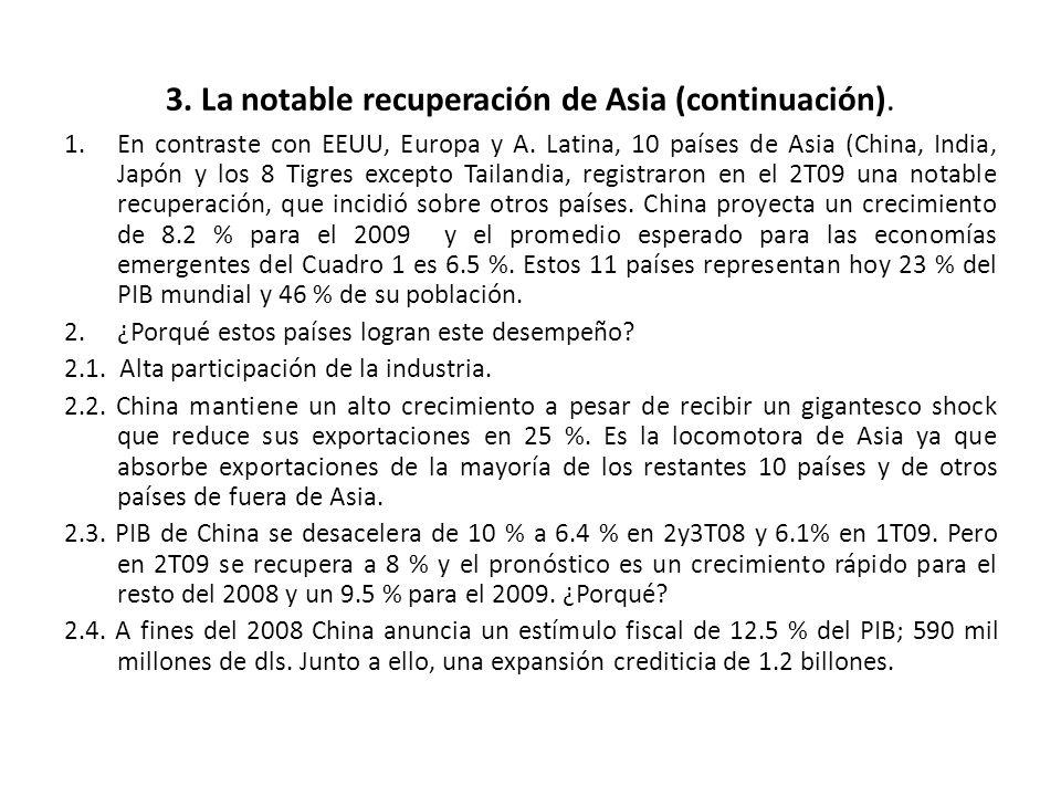 3. La notable recuperación de Asia (continuación). 1.En contraste con EEUU, Europa y A. Latina, 10 países de Asia (China, India, Japón y los 8 Tigres