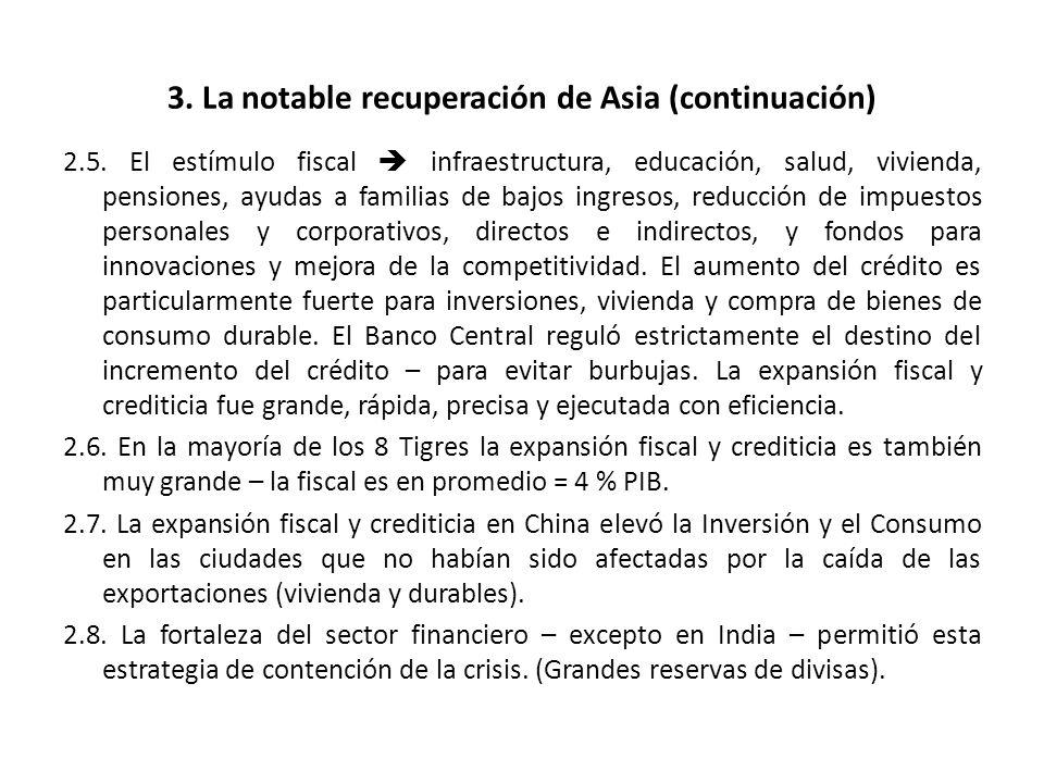3. La notable recuperación de Asia (continuación) 2.5. El estímulo fiscal infraestructura, educación, salud, vivienda, pensiones, ayudas a familias de