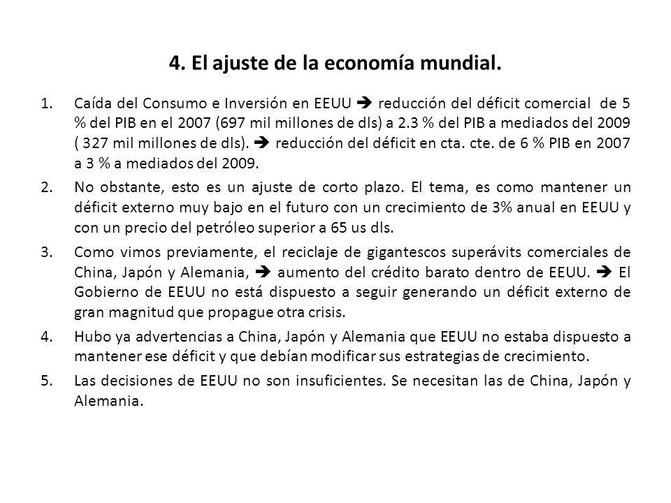 4. El ajuste de la economía mundial. 1.Caída del Consumo e Inversión en EEUU reducción del déficit comercial de 5 % del PIB en el 2007 (697 mil millon
