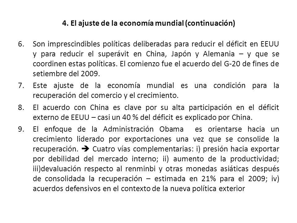 4. El ajuste de la economía mundial (continuación) 6.Son imprescindibles políticas deliberadas para reducir el déficit en EEUU y para reducir el super