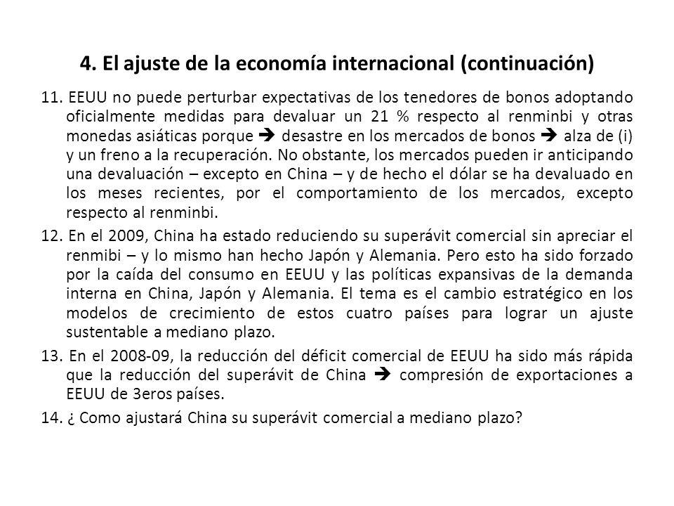 4. El ajuste de la economía internacional (continuación) 11. EEUU no puede perturbar expectativas de los tenedores de bonos adoptando oficialmente med