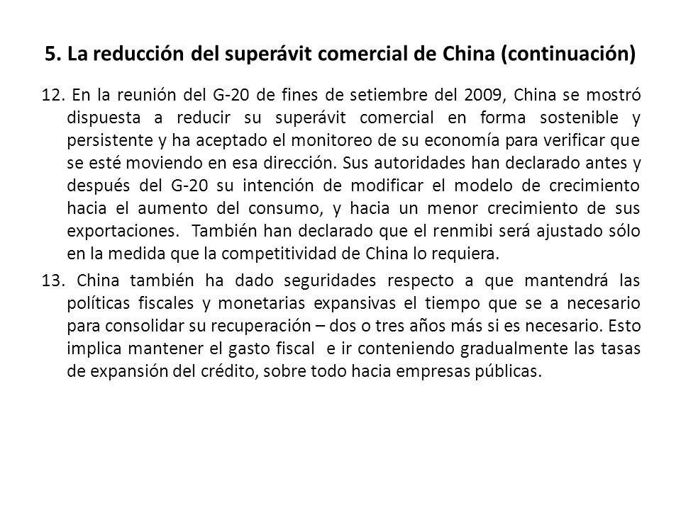 5. La reducción del superávit comercial de China (continuación) 12. En la reunión del G-20 de fines de setiembre del 2009, China se mostró dispuesta a