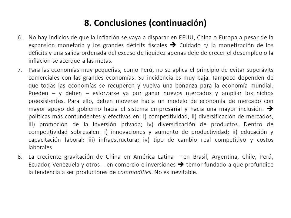 8. Conclusiones (continuación) 6.No hay indicios de que la inflación se vaya a disparar en EEUU, China o Europa a pesar de la expansión monetaria y lo