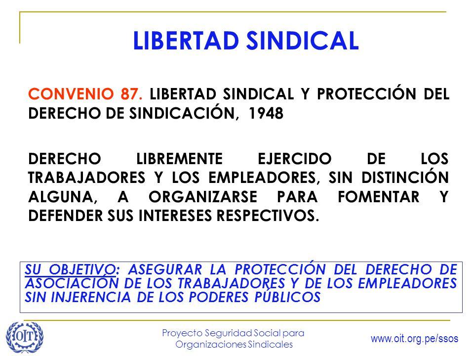 www.oit.org.pe/ssos Proyecto Seguridad Social para Organizaciones Sindicales SU OBJETIVO: ASEGURAR LA PROTECCIÓN DEL DERECHO DE ASOCIACIÓN DE LOS TRAB