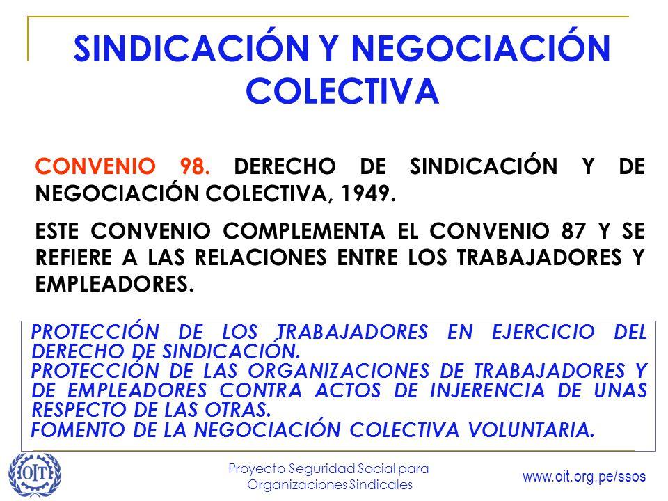 www.oit.org.pe/ssos Proyecto Seguridad Social para Organizaciones Sindicales SINDICACIÓN Y NEGOCIACIÓN COLECTIVA CONVENIO 98. DERECHO DE SINDICACIÓN Y