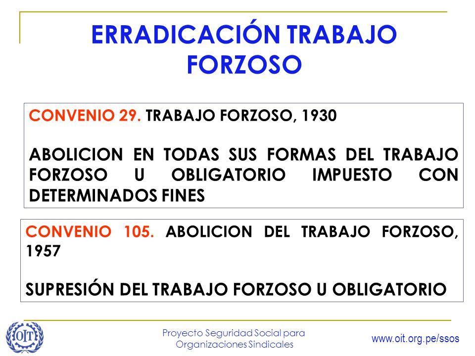www.oit.org.pe/ssos Proyecto Seguridad Social para Organizaciones Sindicales ERRADICACIÓN TRABAJO FORZOSO CONVENIO 29. TRABAJO FORZOSO, 1930 ABOLICION
