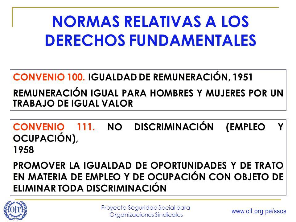 www.oit.org.pe/ssos Proyecto Seguridad Social para Organizaciones Sindicales NORMAS RELATIVAS A LOS DERECHOS FUNDAMENTALES CONVENIO 100. IGUALDAD DE R