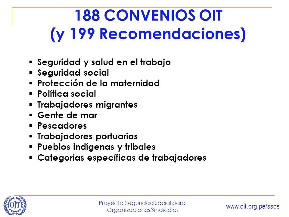 www.oit.org.pe/ssos Proyecto Seguridad Social para Organizaciones Sindicales 188 CONVENIOS OIT (y 199 Recomendaciones) Seguridad y salud en el trabajo