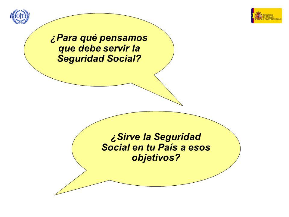 ¿Para qué pensamos que debe servir la Seguridad Social? ¿Sirve la Seguridad Social en tu País a esos objetivos?