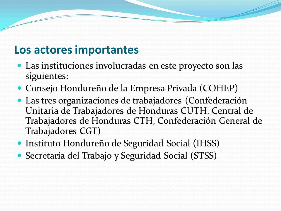 Los actores importantes Las instituciones involucradas en este proyecto son las siguientes: Consejo Hondureño de la Empresa Privada (COHEP) Las tres organizaciones de trabajadores (Confederación Unitaria de Trabajadores de Honduras CUTH, Central de Trabajadores de Honduras CTH, Confederación General de Trabajadores CGT) Instituto Hondureño de Seguridad Social (IHSS) Secretaría del Trabajo y Seguridad Social (STSS)