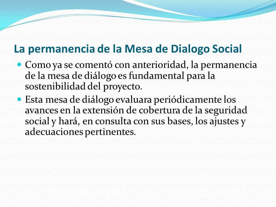 La permanencia de la Mesa de Dialogo Social Como ya se comentó con anterioridad, la permanencia de la mesa de diálogo es fundamental para la sostenibilidad del proyecto.