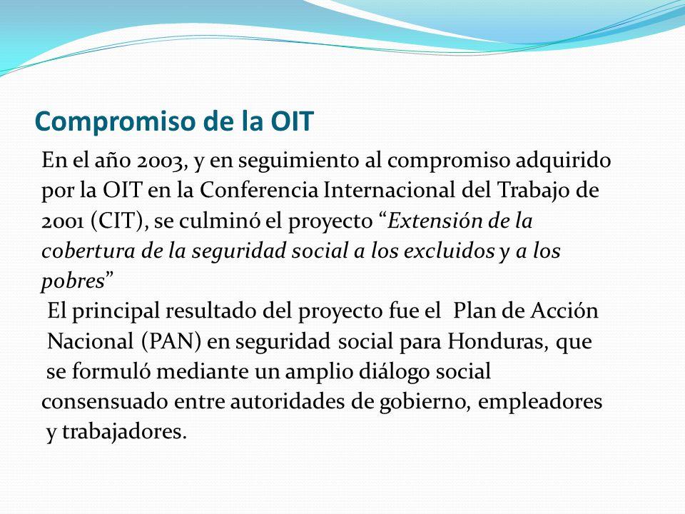 Compromiso de la OIT En el año 2003, y en seguimiento al compromiso adquirido por la OIT en la Conferencia Internacional del Trabajo de 2001 (CIT), se culminó el proyecto Extensión de la cobertura de la seguridad social a los excluidos y a los pobres El principal resultado del proyecto fue el Plan de Acción Nacional (PAN) en seguridad social para Honduras, que se formuló mediante un amplio diálogo social consensuado entre autoridades de gobierno, empleadores y trabajadores.